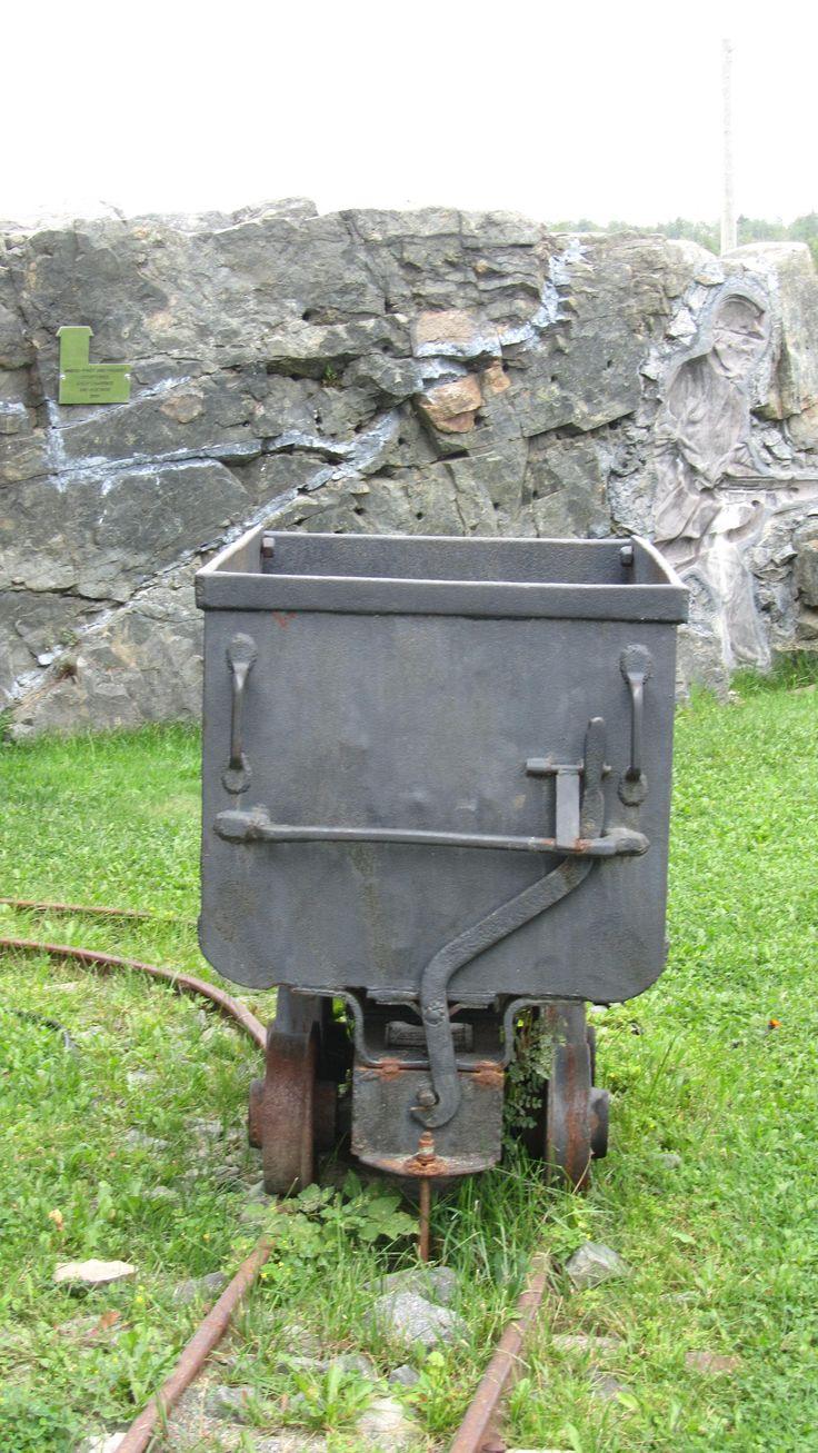 Ore cart on rails.