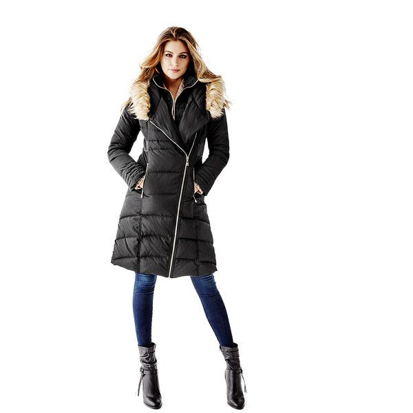 GUESS Flora Down Puffer Coat (250 CAD) ❤ liked on Polyvore featuring outerwear, coats, jet black, hooded coats, quilted puffer jacket, black puffer jacket, black coat and puffer coat