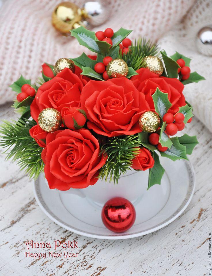 """Купить Композиция в чашке """"Christmas"""" - ярко-красный, рождество, Холодный фарфор, полимерная глина"""