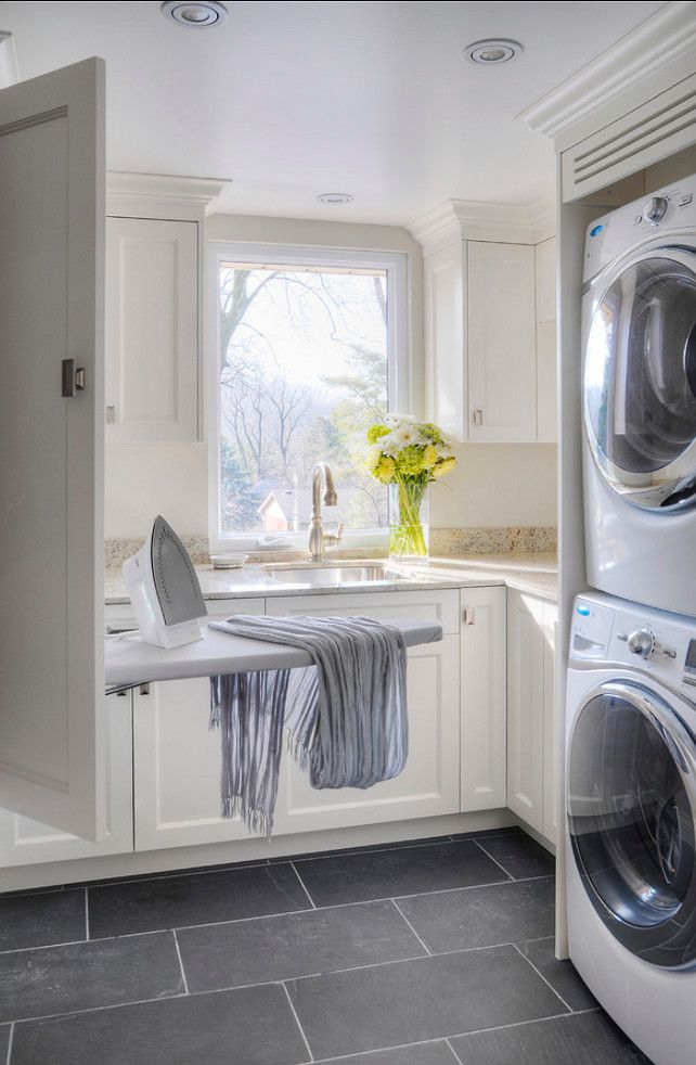 Laundry Room   Grey Tile, Stacked Washer/dryer For Smaller Space, Ironing  Board From Wall Cabinet.