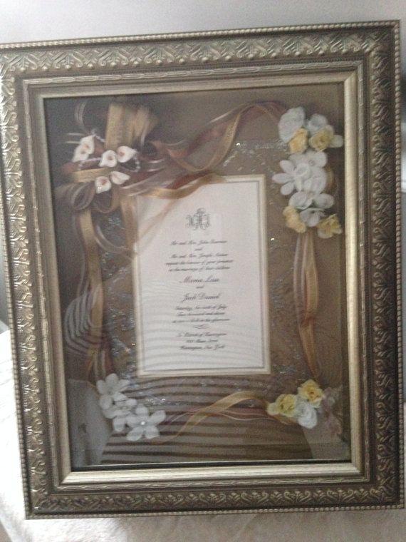 Wedding Invitation Keepsake Frame hand made. decorated  with flowers, ribbon, glitter, rhinestones etc.