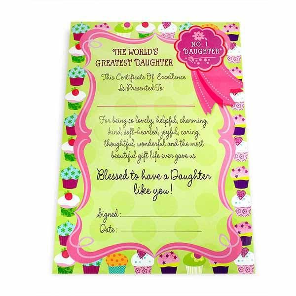 Greatest Daughter Certificate The world's greatest daughter this certificate of excellence is presented to: for being so lovely,helpful charming kind soft hearted joyful caring thoughtful wonderful and the most beautiful gift life ever gave us, Blessed to have a daughter like you! No.1 Daughter... Size : 13 x 9 inch. | Rs. 124 | Shop Now | https://hallmarkcards.co.in/collections/shop-all/products/buy-stationary-gift