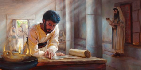 "Jesus studying a scroll in a first-century synagogue. Keep your minds fixed on the things above, not on the things on the earth.""—COL. 3:2."