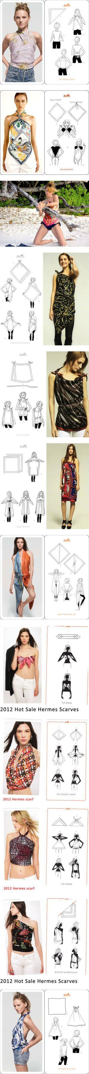 """""""18 ways to tie Hermes scarves tops and skirts"""" by shoeswithredsoles ❤ liked on Polyvore"""