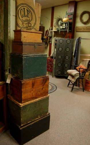 Stack Of Primitive Painted Boxes...