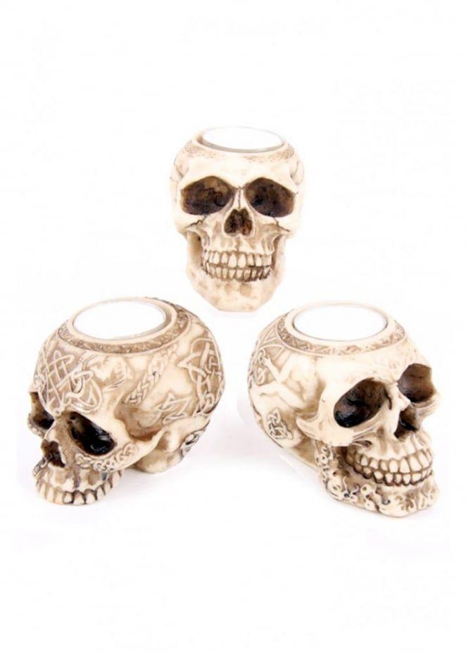 3 Skull Gothic Tea Light Candle Holder Triple Résine Crânes bougie celtique OS
