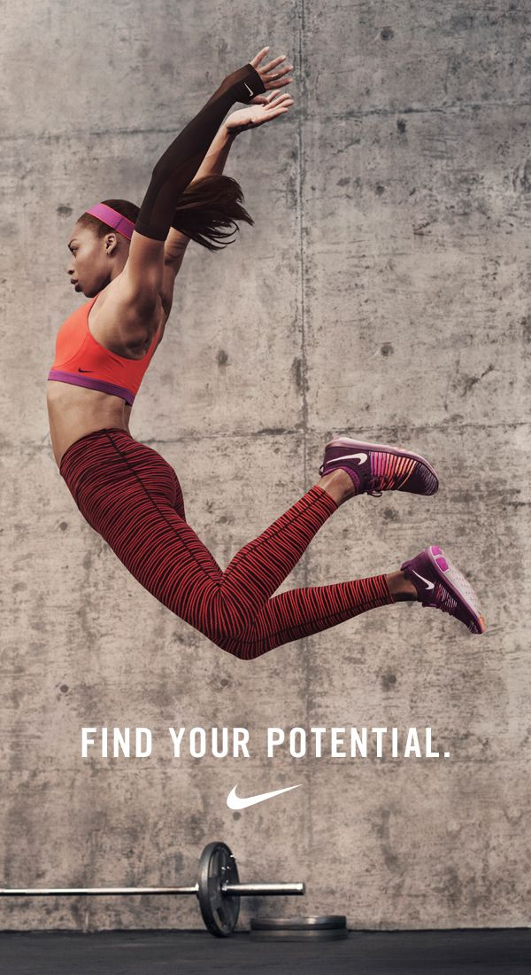 """""""Running the 400 is definitely out of my comfort zone, but I know I'm #betterforit. I know that I'm pushing myself. I know that I still have more potential."""" — NikeWomen Olympic Sprinter Allyson Felix."""