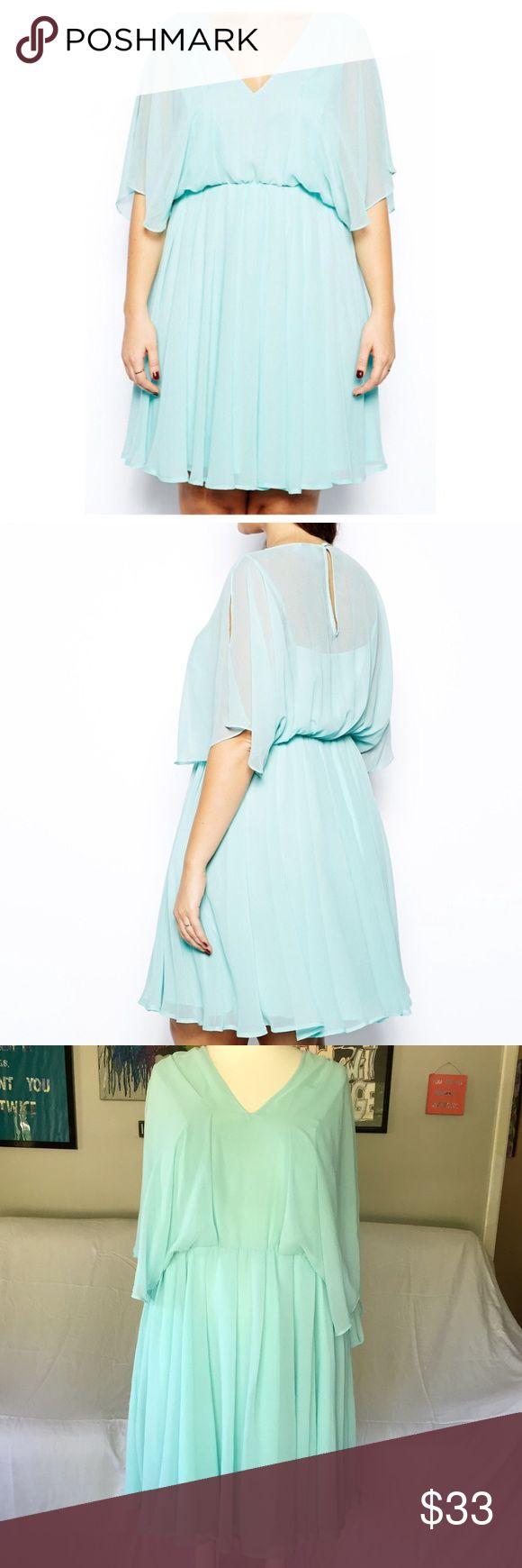 ASOS Curve Dress So pretty! Sheer aqua skater dress with angel sleeves. ASOS Curve Dresses Midi