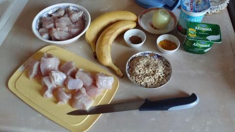 Куриное филе в банановом соусе   4vkusa.ru