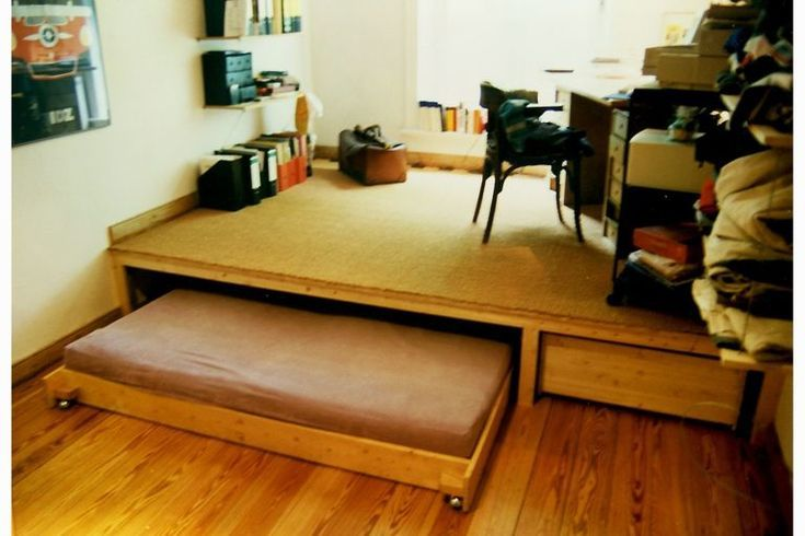Image Result For Bed Under Podium Bedroom Storage Space Within Building Bedroom Image Podium Result Space Stor Bedroom Storage Storage Spaces Home Decor