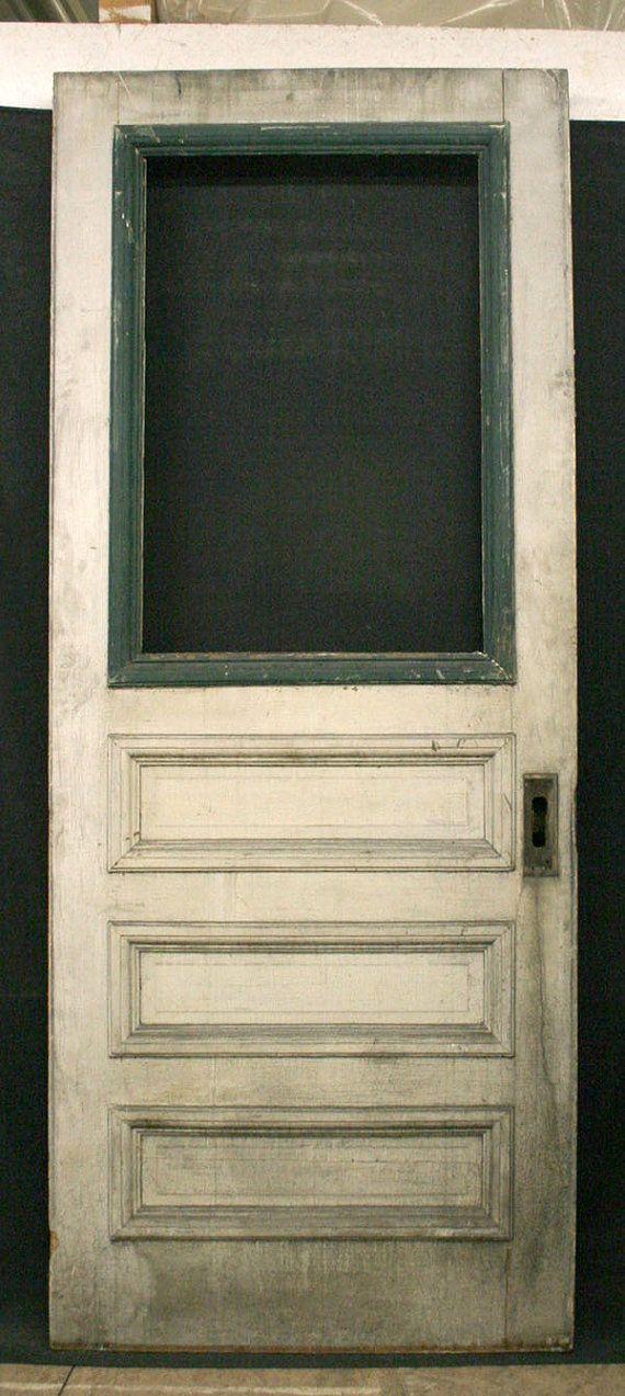36 X 90 Antique Exterior Pine Door Applied Molding 3 Recessed Panels Window Pine Doors