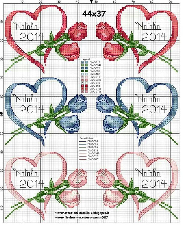 Cross-stitch Ribbon Heart with Flowers Set...   Fguj