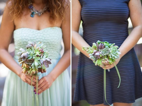Artistic Post-Apocalyptic Nature Woodland California Wedding Bridesmaid Succulent Bouquets http://www.lovatoimages.com/