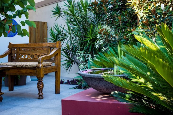 Deze tuin wordt gekenmerkt door de tropische sfeer. Dit komt naar voren in de houten meubels, warme kleuren op de muur, mozaïektegels bij het fonteintje. Donkerrood is in zowel op de muren als in de beplanting terug te vinden. De tuin is een patiotuin te noemen: het dient als een verlengstuk van de huiskamer.