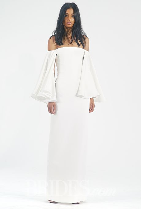 Brides.com: . Trend: Flouncy Sleeves. Off the shoulder sheath silk dress with long ruffled bell sleeves, Houghton
