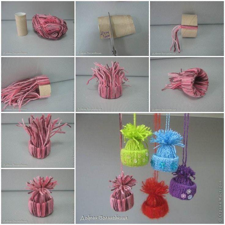 Ideas creativas - lindo hilado DIY Adornos Sombrero de Invierno