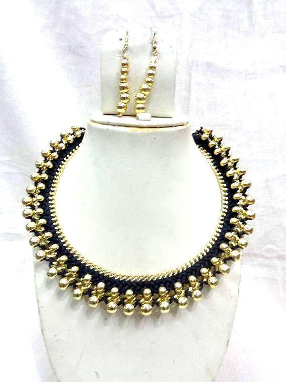 Statement Necklace/ Black Necklace/ Chunky Necklace/Beaded Necklace/Bib Necklace/Beaded Jewelry , gypsy style handmade, choker , collar