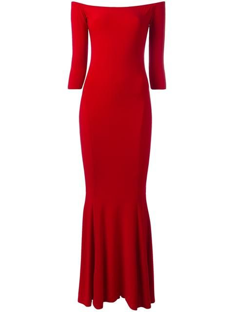 Shop Norma Kamali off-shoulders fitted dress.