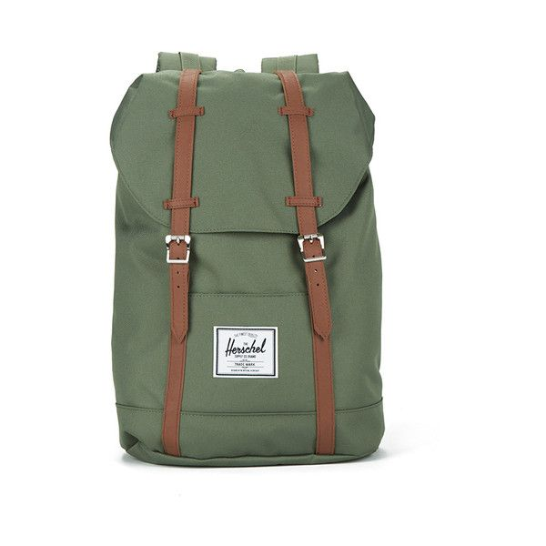 Herschel Retreat Backpack - Green/Tan ($110) ❤ liked on Polyvore featuring bags, backpacks, woven bag, rucksack bag, drawstring backpack, backpacks bags and drawstring bag