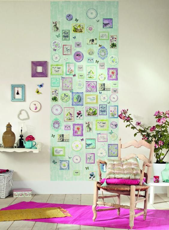Whimsical wallpaper mural with pretty coloured frames on a pale green background. From the Trendy Panels collection, Hippie Chic TDP65414065. This is a Guthrie Bowron exclusive range in NZ.