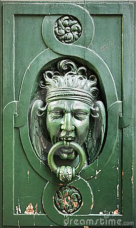 Door Knocker on Wooden Door, In Paris