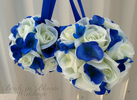 wedding pomanders white ivory royal blue wedding flower balls flower girl kissing ball ceremony decorations via