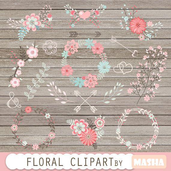 Clipart de flores: FLORAL CLIPART boda flor clipart por MashaStudio