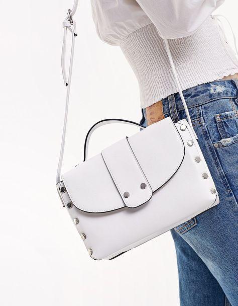 Satchel messenger bag with studs - Bags | Stradivarius Hungary