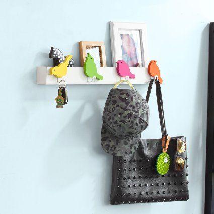 SoBuy FRG63-F Etagère murale, Patères Crochets décoratif oiseaux design- 4 crochets et 1 étagère