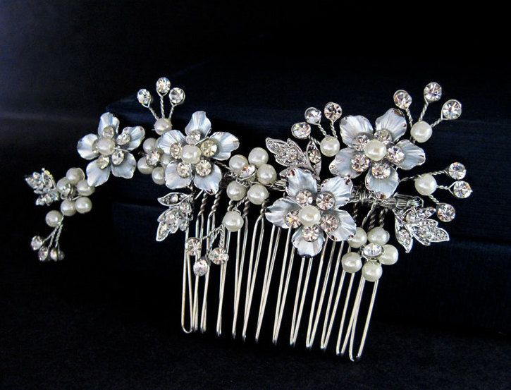 Bridal flower hair comb, Pearl Hair Comb,Swarovski hair comb,Bridal headpiece,Bridal hair accessories, Wedding headpiece, by ALBridalAccessories on Etsy https://www.etsy.com/listing/208870575/bridal-flower-hair-comb-pearl-hair