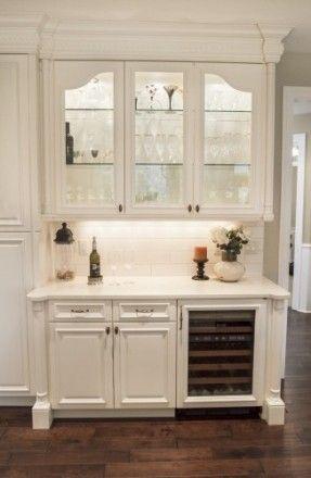 bar idea - hutch built-in for glass & china display, wine fridge & storage below