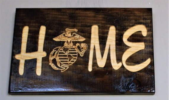 Home Sign Carved Wood Sign Engraved Sign Military Home
