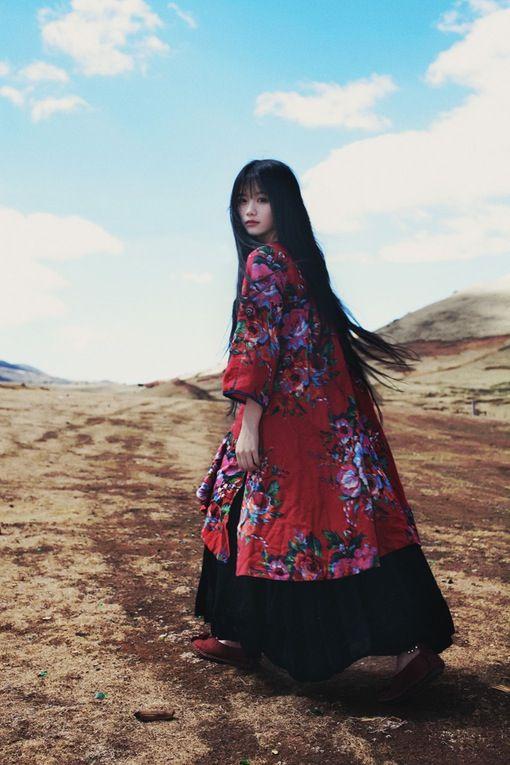 Beautiful photo portrait of Asian girl in tundra