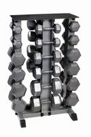 Bodypower5-30Kg Hex Dumbbell Set & Rack - click to enlarge