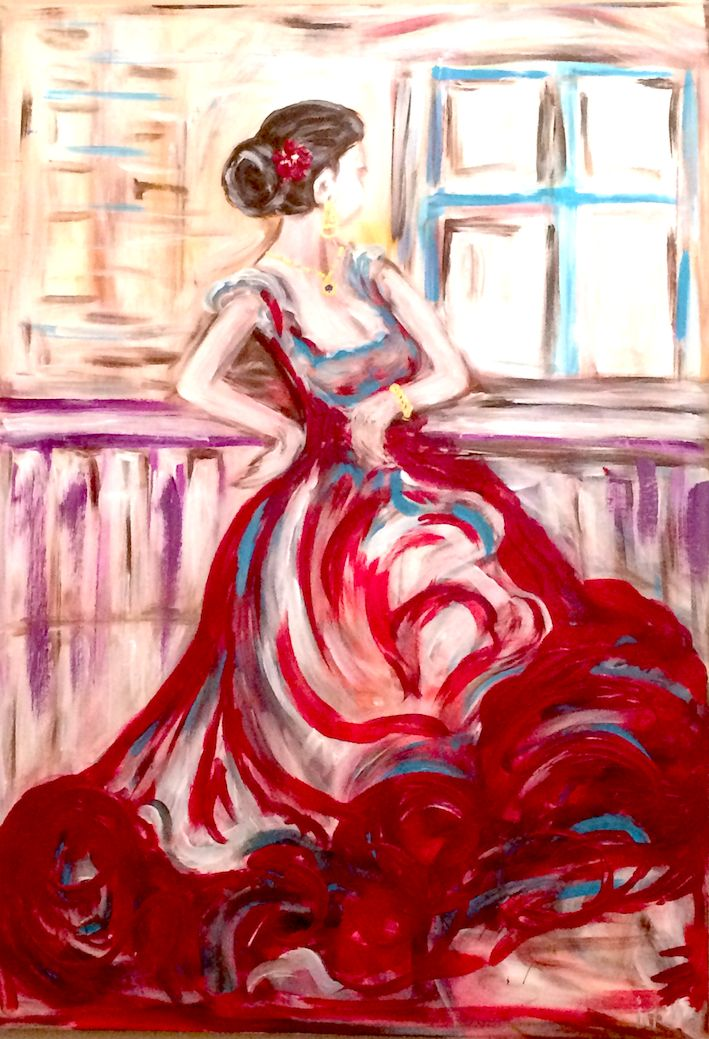FLAMENCO WOMEN LOOKING OUT OF THE WINDOW, ACRYL ON CANVAS