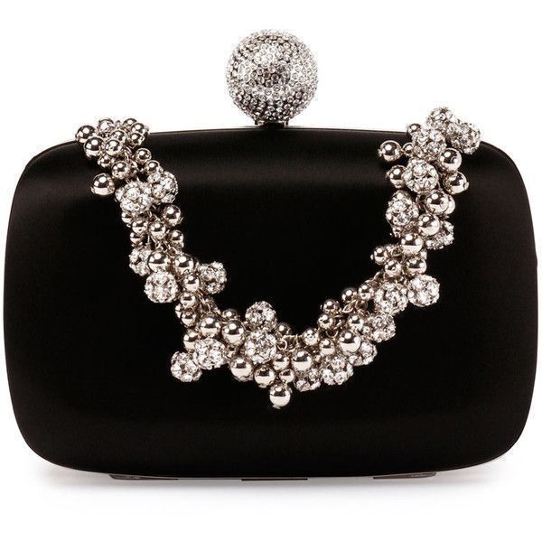 Roger Vivier Bo?te de Nuit Satin Evening Clutch Bag ($4,050) ❤ liked on Polyvore featuring bags, handbags, clutches, black, satin purse, kiss-lock handbags, beaded evening handbags, top handle handbags and beaded evening purse #rogervivierhandbags #rogervivierclutch