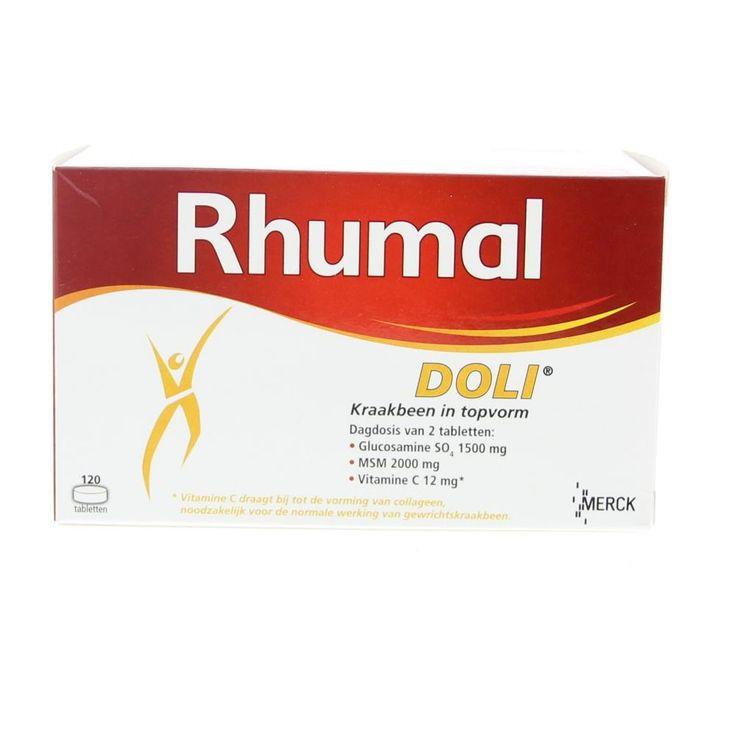 Merck Rhumal Doli Tabletten Gewrichten 120Tabl  Merck Rhumal Doli Glucosaminesulfaat 750mg  MSM 1000mgTabletten. Bewegen zich verplaatsen de noodzakelijke dagelijkse bewegingen zonder moeite uitvoeren allemaal activiteiten die nauw verbonden zijn met de gezondheid van onze gewrichten. De soepelheid en beweegbaarheid hangen in grote mate af van de gezondheid van ons kraakbeen dat als kussen fungeert en zo alle schokken kan opvangen en dempen. Met de leeftijd door overgewicht door een ongeval…