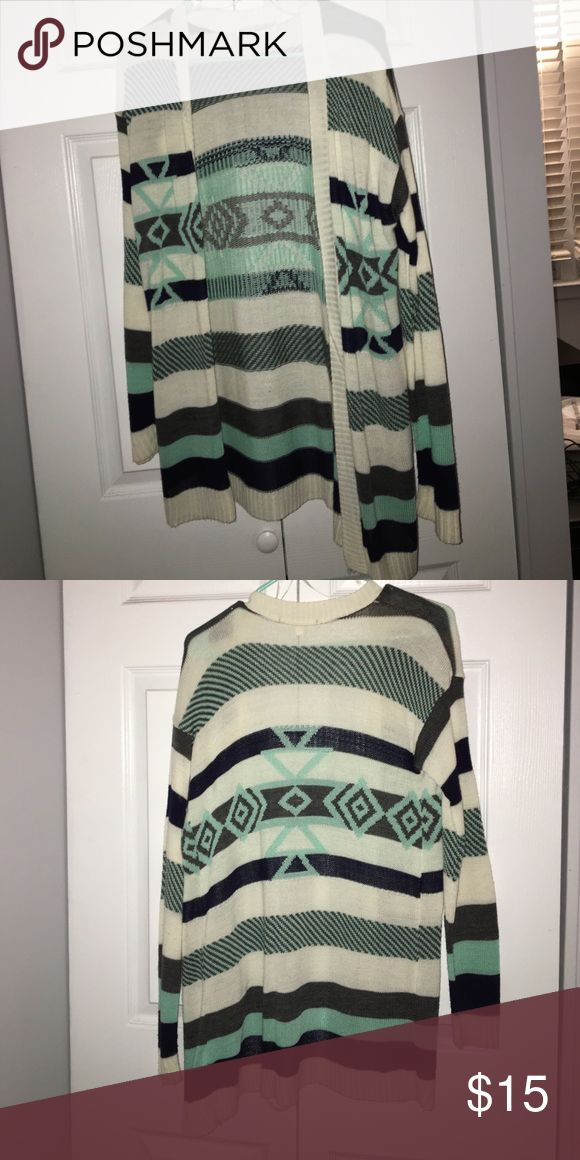 Tribal print cardigan Blue black gray and white tribal print cardigan, excellent condition worn once Say What? Sweaters Cardigans