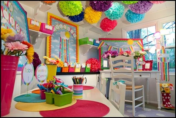 Bright rainbow classroom decorations  I wish my class could look like this!