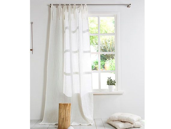 white linen curtain linen curtain with ties stone washed linen panelwidth x custom length