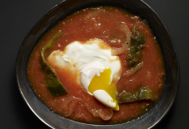 Rabo de Mestiza: Poached Eggs in a Tomato and Poblano Rajas Sauce
