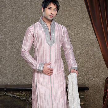 Light Pink and Off White Art Dupion Kurta with Churidar