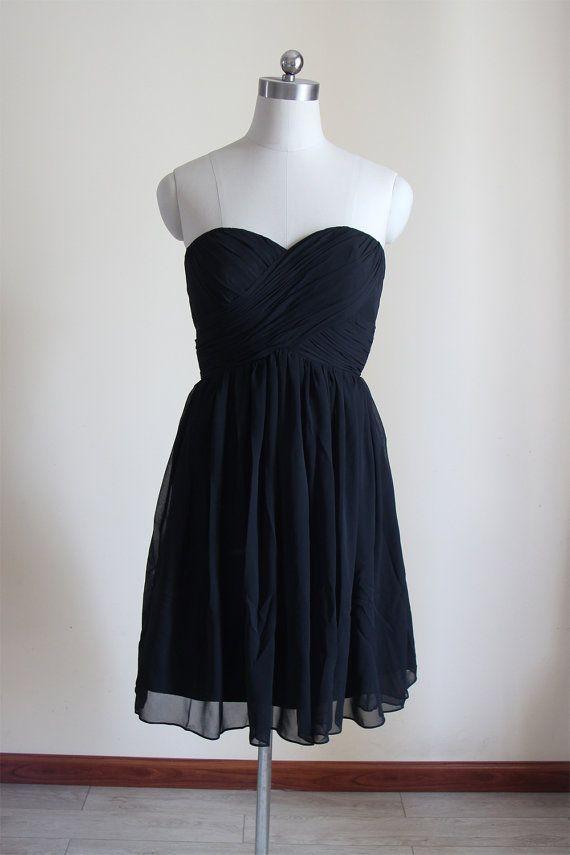 Schwarz Sweetheart kurze Brautjungfer Kleid schwarz von AlexDress