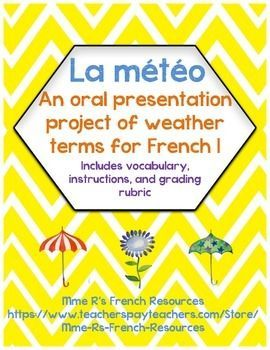 If you are teaching the weather expressions in French 1 or exploratory French, you are probably trying to find some ways to make it fun!This French weather project and presentation allows you to assess written and oral skills while bringing French geography and culture into your classroom.Students are asked to create a map of France on a posterboard.