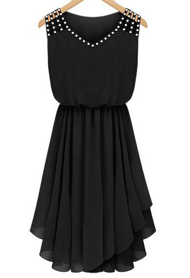 Shop Black Sleeveless Rhinestone Hollow Pleated Chiffon Dress online. Sheinside offers Black Sleeveless Rhinestone Hollow Pleated Chiffon Dress & more to fit your fashionable needs. Free Shipping Worldwide!