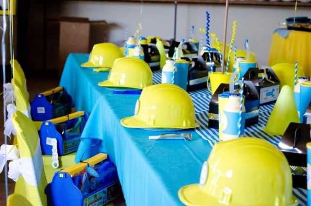 Awesome table at a Construction Party.   See more party ideas at CatchMyParty.com.  #construction #partyideas