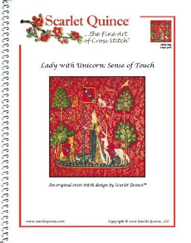 Scarlet Quince UNK024lg Lady with Unicorn: Sense of Touch Counted Cross Stitch Chart, Large Size Symbols >>> Click image for more details.