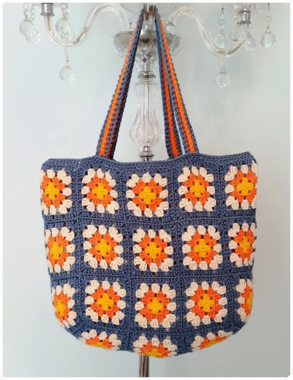 Crochet Bag Granny Square Bag Crohcet by KNITANDCROCHETWORLD
