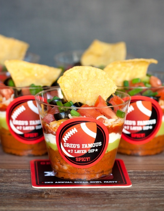 Fun way to serve up individual snacks for Super Bowl entertaining! Seven layer dip in a cup. #nodoubledipping #appetizer
