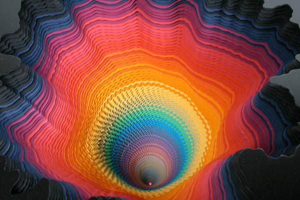 A Rainbow of Hand-Cut Paper Sculptures